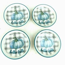 """Hello Fall Tea Bag Plate Holder Blue Pumpkin Buffalo Plaid Butter Pat 3"""" Set /4"""