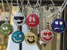 "GUESS Emoticon Enamel/Crystal Charm Necklaces / Set of 7 / Each is 16-18"" length"
