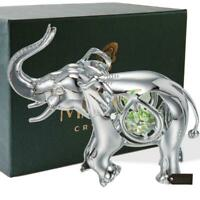 Chrome Plated Silver Elephant w/Open Mouth Ornament w/Mint Green-Clear-Cut Cryst