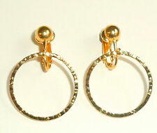 GOLDEN HAMMERED HOOPS CLIP ON EARRINGS (or hooks)