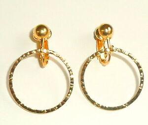 GOLDEN HAMMERED HOOPS CLIP ON EARRINGS (or hooks)