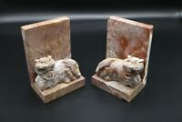 Antique VTG Marble Stone Quartz Carved Foo Dogs Tiger Bookends Rare Pair