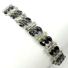 PRECIOUS NATURAL TOP BLACK BLUE & GREEN SAPPHIRE STERLING 925 SILVER BRACELET
