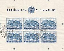 SAN MARINO 1951 Anniversario UPU BF FOGLIETTO posta aerea L. 200 BF USATO LUSSO