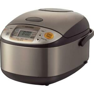 Zojirushi Rice Cooker Built-In Timer Non-Stick Interior Brown Stainless 5-Cup