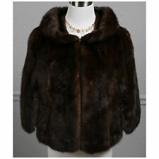 Vintage 60s Fully Let Out Brown Ranch Real Female Mink Fur Cape Shawl Stole Wrap