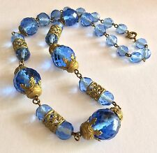 & pressed gold-tone metal necklace Antique Czech faceted blue glass