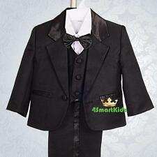 5pc Set Formal Suits Outfits Christening Wedding Page Boy Black Size 3-4 ST022A