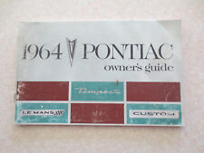 Original 1964 Pontiac Tempest & LeMans & Custom automobile owner's manual