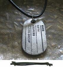Surfer Style Men Necklace Dog Tag Black Necklace Leather Men Leather Necklace