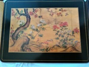 Vintage 6 Pimpernel Chinese Screen Acrylic Cork Placemats in Box