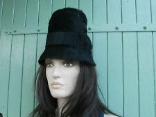 Chapeau ancien noir feutrine pour femme T 55 ..Coiffe Vintage 1950