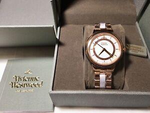 Vivienne Westwood Quartz Wrist Watch Brown & Marble Dial Analogue Steel Bracelet