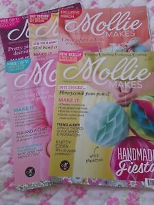 Bundle of 6 magazines & 3 make kits Mollie makes. All In Good Clean Condition
