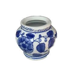 Vintage Miniature Blue & White Flower Porcelain Chinese Vase