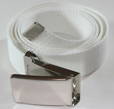 "NEW FLIPTOP ADJUSTABLE 50"" INCH WHITE MILITARY WEB CANVAS CHROME BELT BUCKLE"