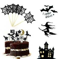 14PCS Halloween Cupcake Toppers Set Party Sparkly Set Bat Witch Ghost Cobweb