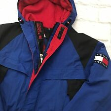 VTG Tommy Hilfiger Mens S Jacket Parka Fully Lined Hooded Spell Out Big Flag