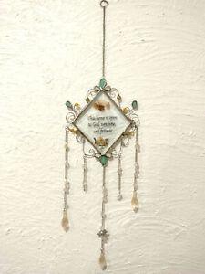 Vintage Clear Glass Sun Catcher Dried Flowers Diamond Shape Silvertone Decor