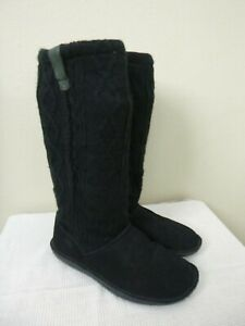 KEEN AUBURN 9.5 40 Black Tall Leather Sweater Knit Knee High Boots Winter Shoes