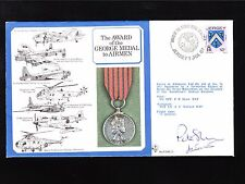 Great Britain Flown Cover George Medal Pilot Navigator Signed '87 Insert Cards (