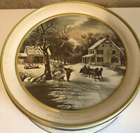 """Vintage 10"""" Currier & Ives Small Cookie Tin American Himestead Winter"""