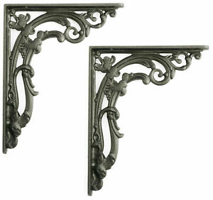 "Pair Medium Cast Iron Scroll Leaf Wall Antique Period Shelf Brackets (23cm / 9"")"