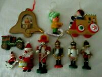 Lot of 10 Wooden Christmas Tree Ornaments~ Raggedy Andy, Soldiers, Circus Train