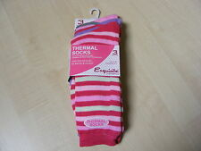 3 PAIRS OF WOMENS / LADIES COLOUR STRIPE STRIPED THERMAL SOCKS SIZE 4 - 8  - NEW