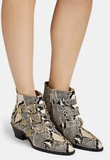 NIB Auth Chloe Susanna Python Stamped Buckled Ankle Boots SZ 40.5 Eternal Grey