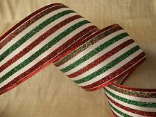 Christmas Ribbon, Multicolor Metallic, 2 1/2 In Wide, Wired Edge, 5 YARDS