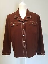 St. John Sport Marie Gray Medium Jacket Brown Buttons Embellished Studded Collar
