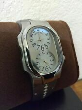 Philip Stein Signature Women's Stainless Steel Dual Time Zone Leather StrapWatch