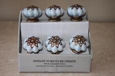 Instant Furniture Update Ceramic Light Blue Brass Cabinet Drawer Pull Knobs S/6