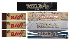 KINGSIZE RIZLA NATURA ROLLING PAPERS, SILVER, MICRON, BLACK RAW ROACH TIPS
