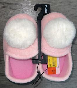 Wonder Nation Pom Pom Aline Slipper (Toddler Girls) Size  7-8 Color Pink New