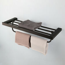 "24"" long Bathroom Accessory Black Wall Mounted Layer Towel Holder Rail Rack"