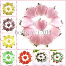 Wholesale 10pcs Cat Eye Gemstone Love Heart DIY Jewelry Making Bead 22x20x5mm