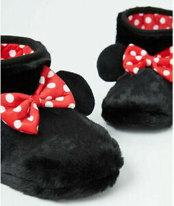 WOMENS MINNIE MOUSE SLIPPERS BOOTIES BLACK FAX FUR DISNEY 7-8 NEW