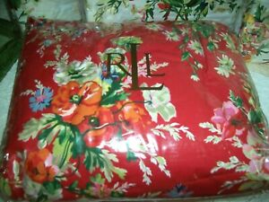 RARE ~ NEW ~ NWT ~ Ralph Lauren Belle Harbor Red Floral ~ Ruffle Bedskirt Full