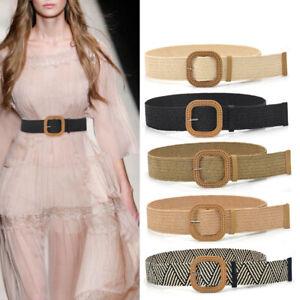Summer Women Elastic Woven Belt Square Buckle Vintage Boho Straw Belt Dress KP