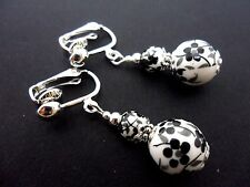 A PAIR OF PORCELAIN FLOWER BEAD  DROP DANGLY CLIP ON  EARRINGS. NEW.