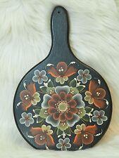 "Vintage Rosemaling Round Wood Cutting Board Hand Painted Scandinavian Art 11.5"""