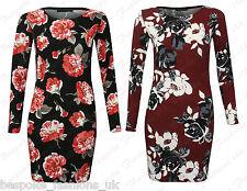 Ladies Women's Long Sleeve Floral Print Crepe Tunic Mini Dress Plus Size 8-22