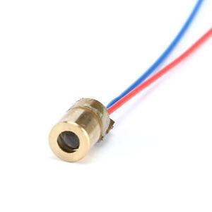 Laser Diode 650nm RED 6mm 5V 5mW Adjustable Laser Dot Diode Brass - 75mm Leads