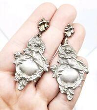 Antique Art Nouveau Mermaid Lady High Relief Pewter Earrings Gorgeous
