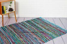 Handmade Indian Chindi Rag Rug 100% Recycled Cotton Woven Floor Mat 3x5 X 5x7 FT