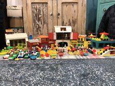 Vintage Fisher Price Little People Farm School Airport Village HUGE 100+ pc lot
