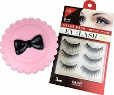 Daiso Pink Cute Case Bow Fairy Ribbon + 3 pairs False Eyelash Accessories