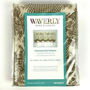 Waverly Charmed Life ONE Window Valance 52x18 Brown Cream Toile Cotton NEW